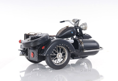 BMW Military 1930s Motorcycle w/ Sidecar Metal Model