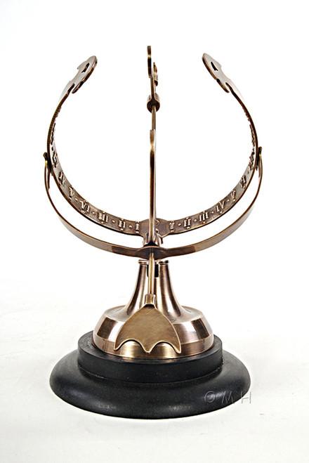 Brass Armillary Sphere Sundial Wood Base Antiqued Globe