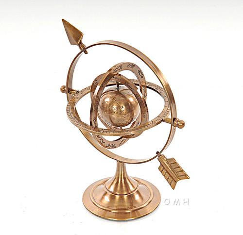 Brass Armillary Dial Sphere World Globe Desk Top