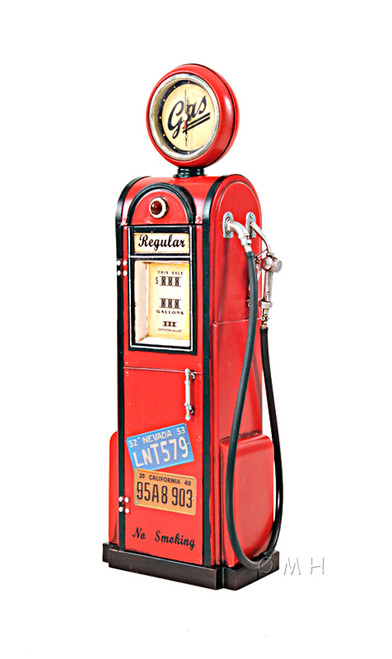Gas Pump Vintage Reproduction Metal Model Clock