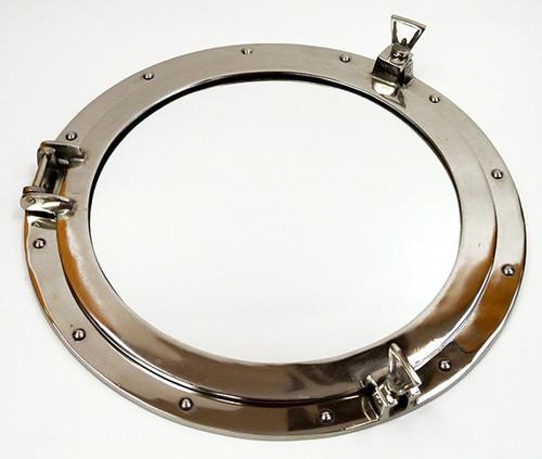 XL Ships Porthole Mirror Aluminum Chrome Round