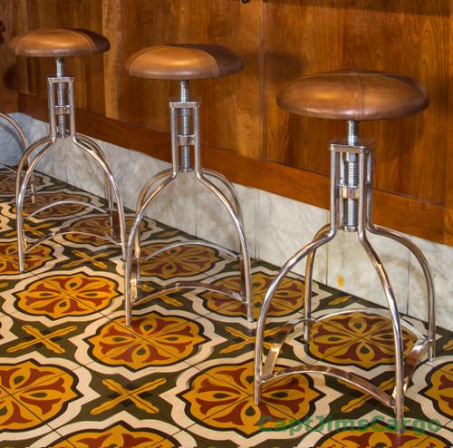 Leather Speakeasy Seat Bar Stool Kitchen Aluminum