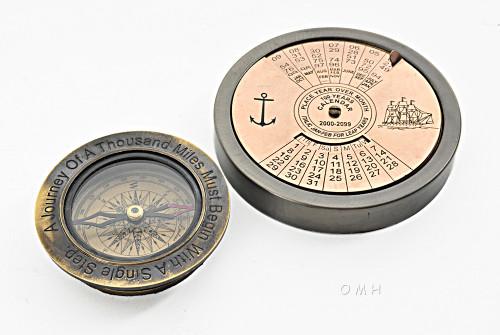 Brass Desktop Compass 100 Year Calendar Antiqued Finish