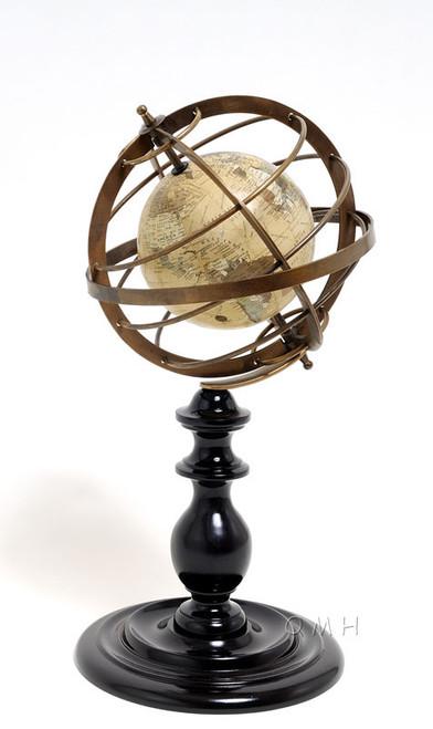 Brass Armillary Sphere Globe Rosewood Base Antiqued
