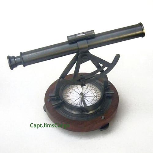 Brass Alidade Compass Wooden Base Decorative Nautical Decor