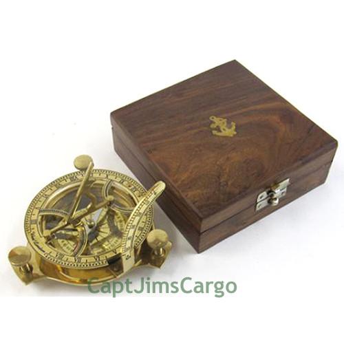 Brass Compass Folding Sundial Wooden Case Nautical Gift