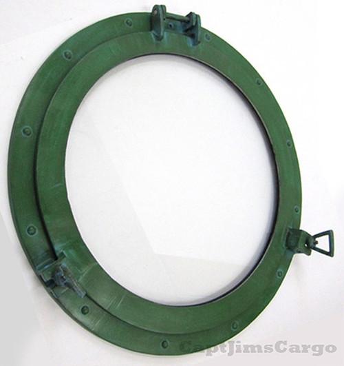 Aluminum Green Finish Ships Porthole Glass Window