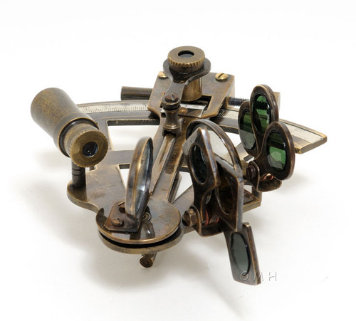 Small Brass Sextant Antiqued Finish Nautical Decor