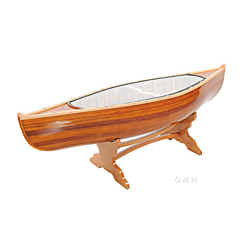 Canoe Coffee Table Glass Top Cedar Strip