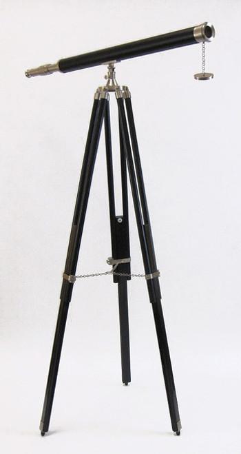 Leather Chromed Brass Refractor Chrome Telescope Tripod