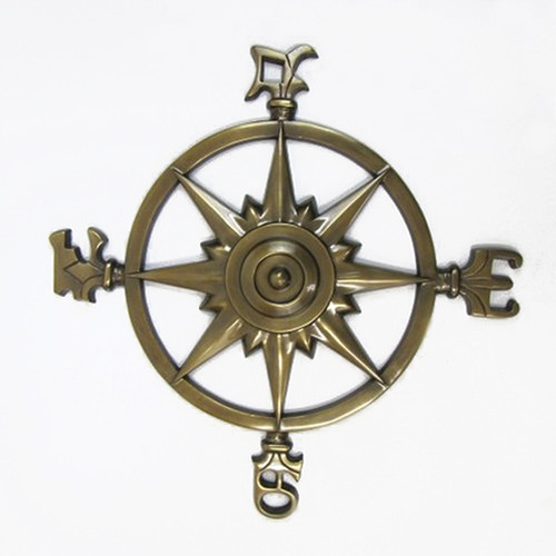 "XL Compass Rose Windrose Brass Finish 23"" Nautical Wall Decor"