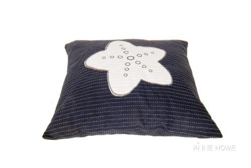 Nautical Throw Pillow Navy Blue White Starfish