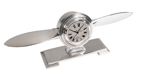 Art Deco Propeller Desk Clock Aluminum Aviation