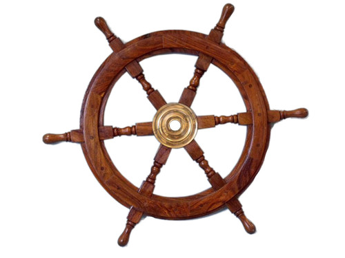 "Ship's Steering Wheel 30"" Wood w/ Brass Hub Marine Wall Decor"