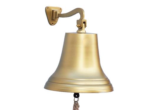 XL Antiqued Brass Ships Bell Hanging Wall Decor