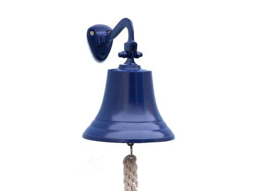 Blue Finish Aluminum Ships Bell Hanging Wall Decor