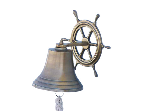 Antiqued Brass Finish Aluminum Bell Ships Wheel Bracket