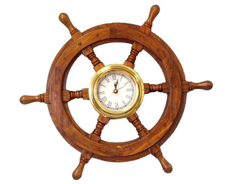 Ships Steering Wheel Brass Clock Nautical Wall Decor