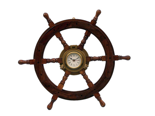 Ships Wheel Antiqued Brass Porthole Clock Wall Decor