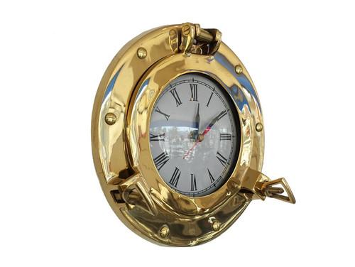 Ships Porthole Clock Brass Nautical Hanging Wall Decor