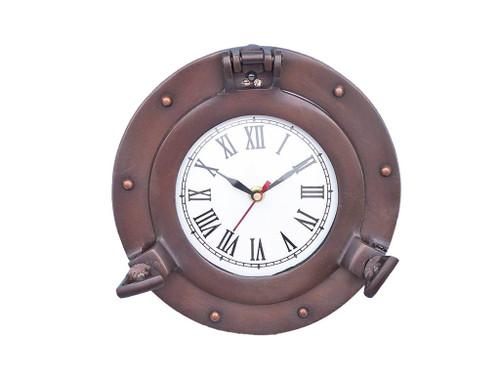 Ships Porthole Clock Bronze Finish Nautical Wall Decor