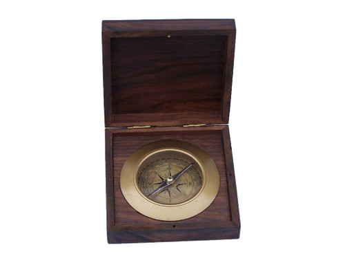 Admirals Compass Antique Brass Desktop Rosewood Case
