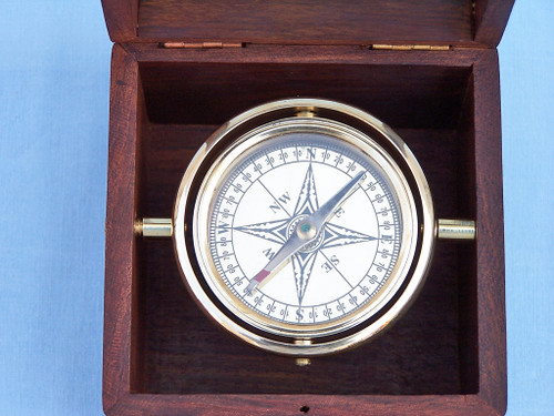 Brass Lifeboat Gimbaled Ships Compass Rosewood Display Case