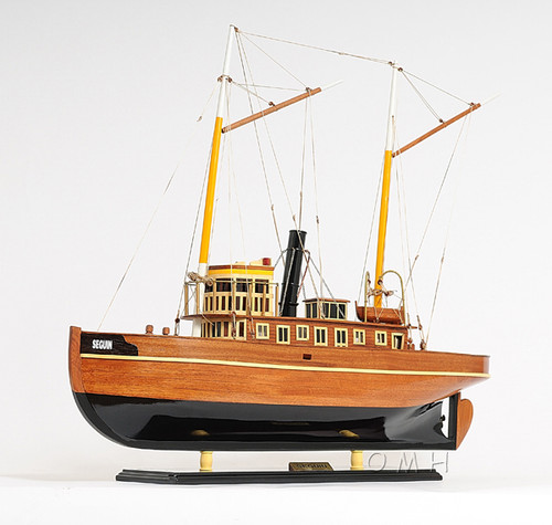 Handcrafted Seguin Tug Boat Wooden Model Towboat