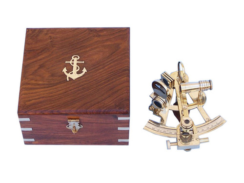 Brass British Sextant Wooden Case Marine Astrolabe