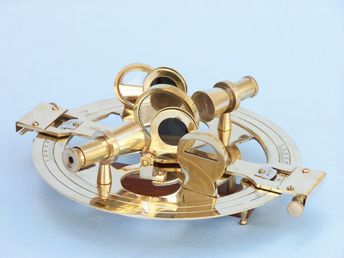 Brass Round Sextant Wooden Case Marine Astrolabe