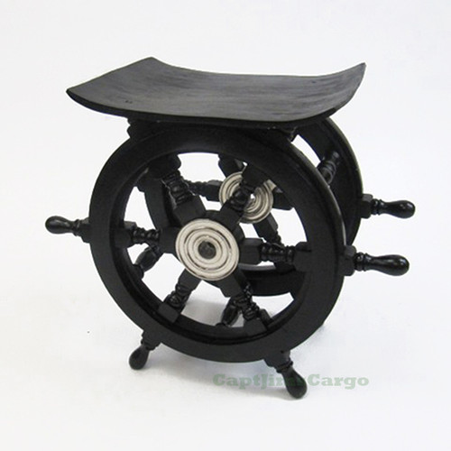 "Black Ship's Steering Wheel End Table 15"" Wood Nautical Pirate Decor"