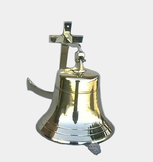 "Brass Ship's Bell 11"" Anchor Bracket Nautical Hanging Wall Decor"