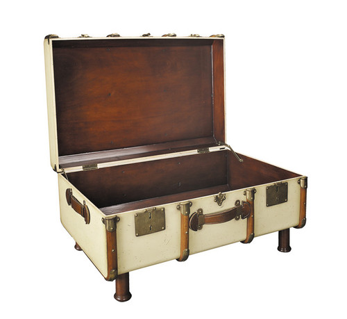 Travel Steamer Trunk Coffee Table Antiqued Ivory