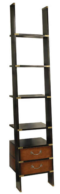 Campaign Library Ladder Black Wall Cabinet Bookcase