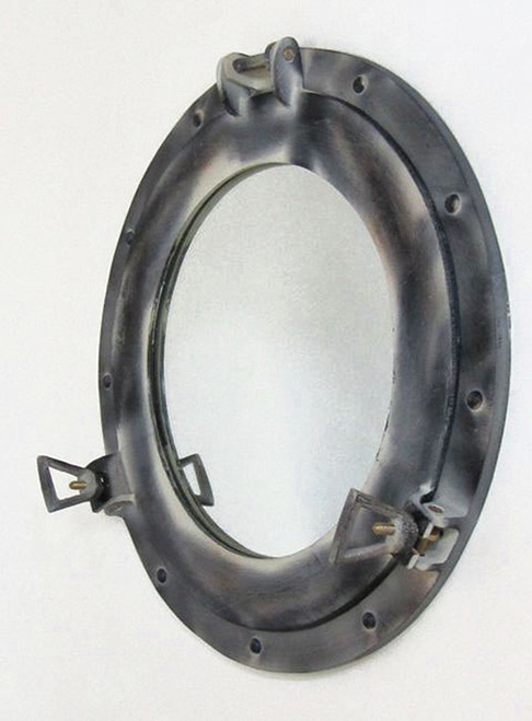 Aluminum Antique White Finish Ships Porthole Mirror