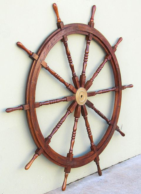 XL Wooden Teak Ships Steering Wheel Brass Hub