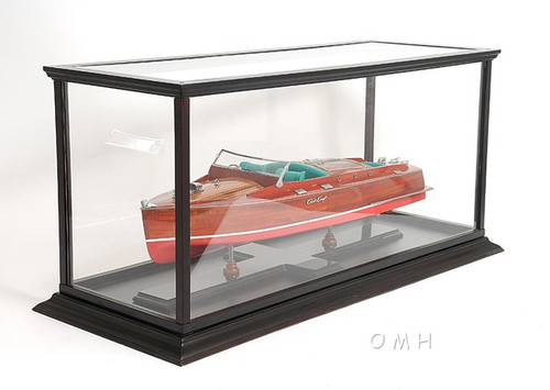 Runabout Speed Boat Model Wooden Display Case