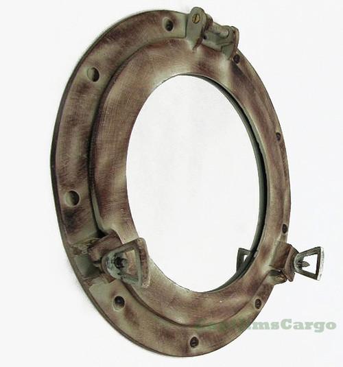 Aluminum Desert Gray Brown Ship Porthole Mirror