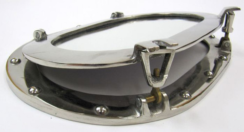 Ship's Oval Porthole Mirror Chrome Nautical Decor