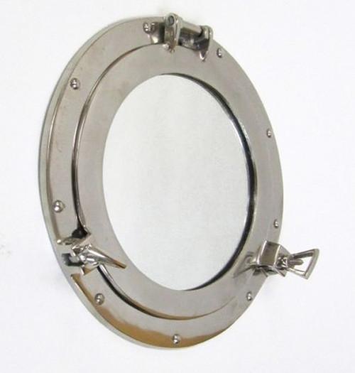 Ship's Cabin Porthole Mirror Aluminum Chrome Finish
