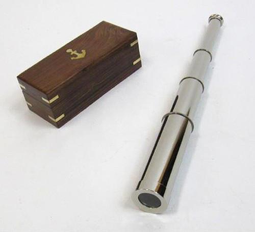 "Chrome Finish Brass 14"" Pirate Spyglass Wooden Case Nautical Telescope"