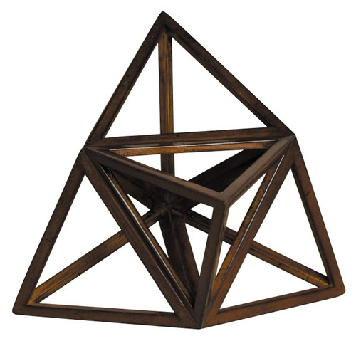 Elevated Tetrahedron 3D Geometric Fire Wooden Model