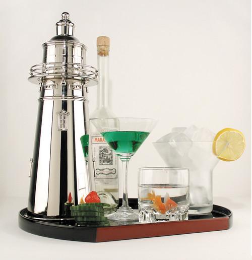 Lighthouse Cocktail Shaker Nickel Brass Barware Vintage