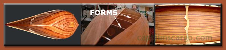 construction collage cedar strip built wood canoe