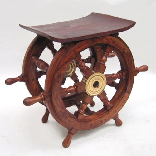"Vintage Nautical Decor Sale: Ship's Wheel End Table 15"" Teak Wood Nautical Furniture"