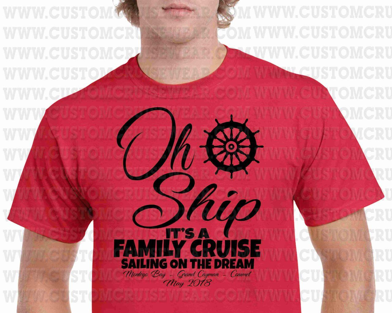 Oh Ship It\'s A Family Trip Shipwheel SINGLE COLOR - Custom Cruise Wear