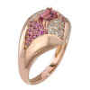 Regalo Dome Ring in 14K Rose Gold with Diamonds, Sapphires and Tourmalines