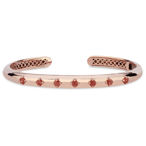 GiGi Hinged Cuff with Orange Sapphire in 14K Rose Gold