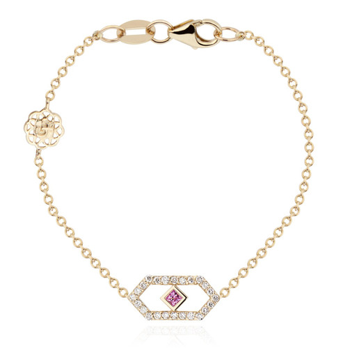 Gianna chain bracelet with pink sapphire