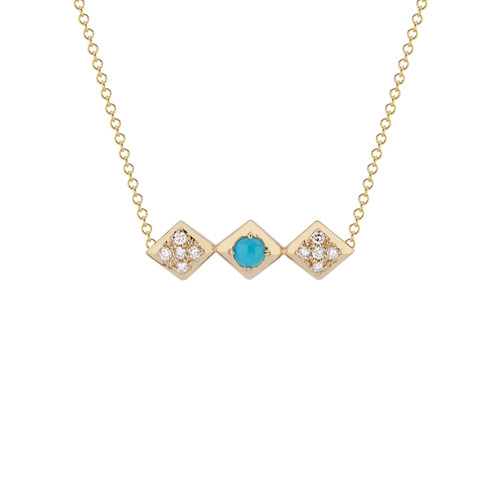 Lucia Bar Necklace with diamonds & turquoise